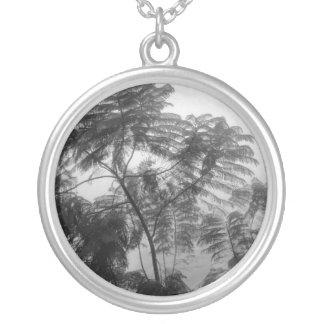 Árbol tropical blanco y negro en niebla colgante redondo