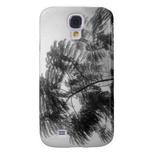 Árbol tropical blanco y negro en niebla funda samsung s4