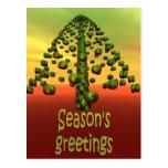 árbol verde brillante 3D Postales