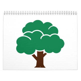 Árbol verde calendario de pared