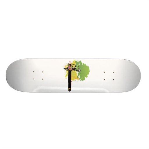 Árbol verde de la licencia al lado de la barra neg patin personalizado