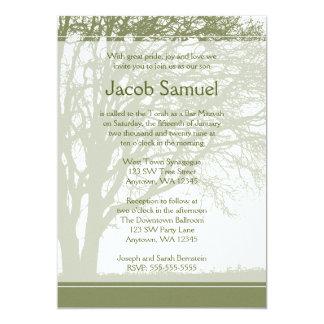 """Árbol verde de las invitaciones de Mitzvah de la Invitación 5"""" X 7"""""""