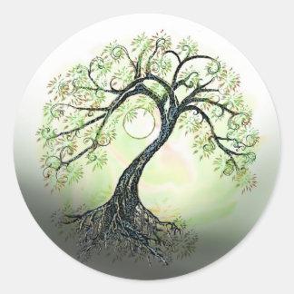 Árbol verde de los pegatinas de la luna de la vida