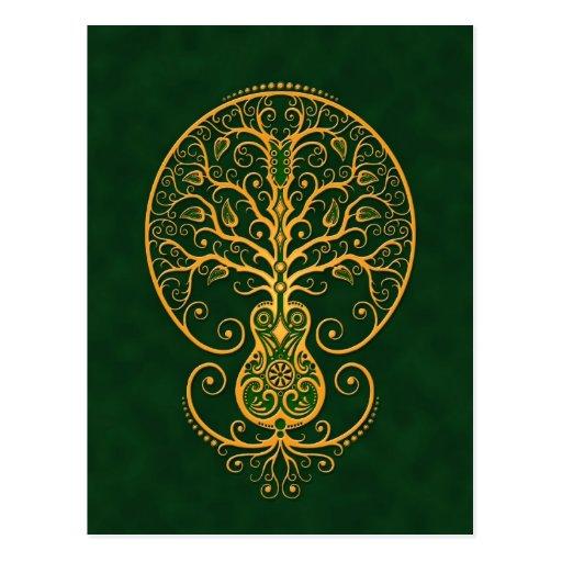 Árbol verde de oro de la guitarra de la vida tarjetas postales
