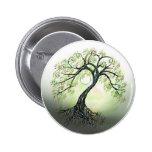 Árbol verde del botón de la luna de la vida pins