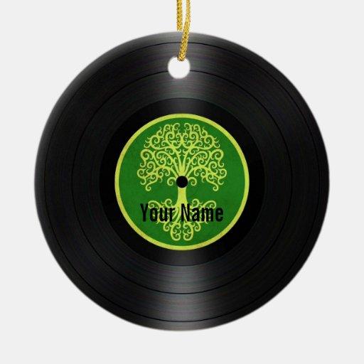 Árbol verde del disco de vinilo personalizado de adorno redondo de cerámica