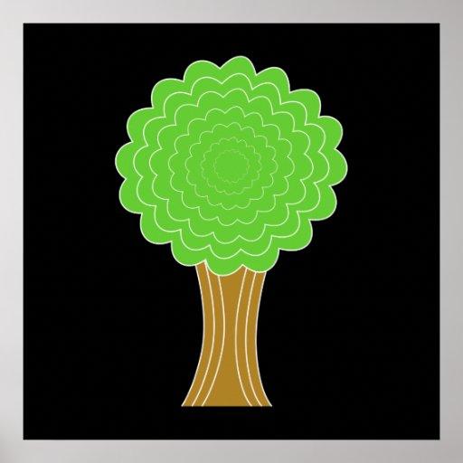 Árbol verde. En fondo negro Póster