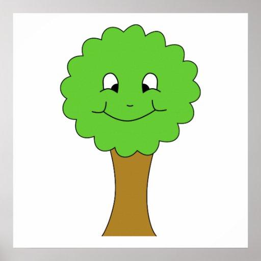 Árbol verde feliz lindo. En blanco Póster