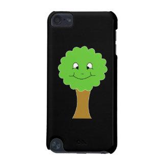 Árbol verde feliz lindo. En negro Funda Para iPod Touch 5G