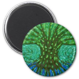 Árbol verde imán redondo 5 cm