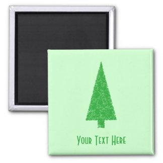 Árbol verde. Navidad, abeto, árbol imperecedero Imán Cuadrado