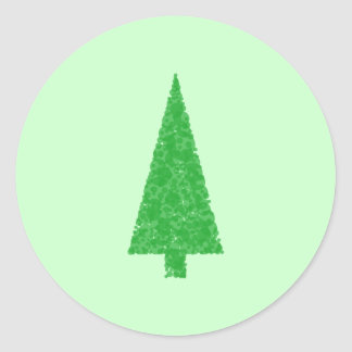 Árbol verde Navidad abeto árbol imperecedero Etiqueta Redonda