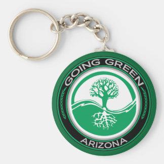 Árbol verde que va Arizona Llavero Redondo Tipo Pin