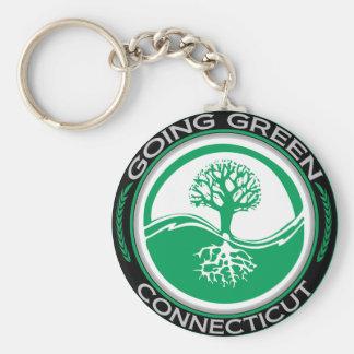 Árbol verde que va Connecticut Llavero Redondo Tipo Pin