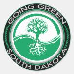 Árbol verde que va Dakota del Sur Etiqueta Redonda