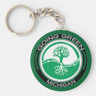 Árbol verde que va Michigan Llavero Redondo Tipo Pin