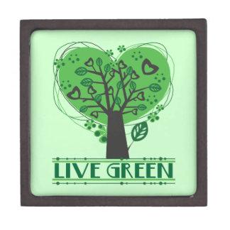 Árbol verde vivo de corazones cajas de joyas de calidad