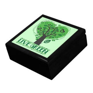 Árbol verde vivo de corazones cajas de recuerdo