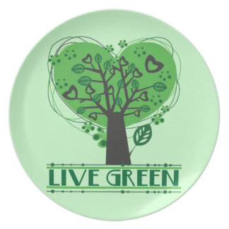 Árbol verde vivo de corazones plato para fiesta