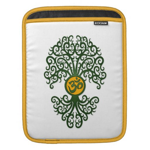 Árbol verde y amarillo de OM de la yoga en blanco Fundas Para iPads