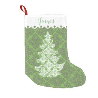 Árbol verde y blanco del día de fiesta del modelo calcetín de navidad pequeño