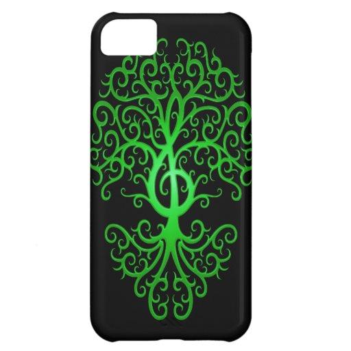 Árbol, verde y negro del Clef agudo Carcasa iPhone 5C