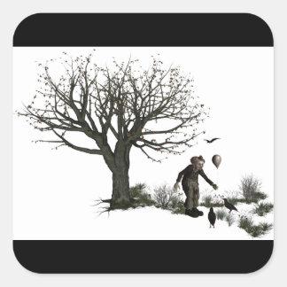 Árbol viejo del payaso del globo y pájaros negros colcomanias cuadradases