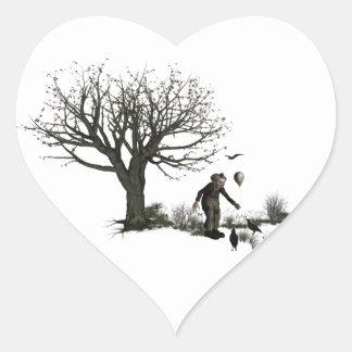 Árbol viejo del payaso del globo y pájaros negros pegatinas de corazon