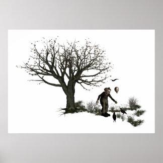 Árbol viejo del payaso del globo y pájaros negros póster
