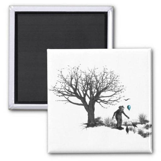 Árbol viejo del payaso del globo y turquesa negra  imán de frigorífico