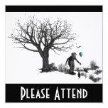 Árbol viejo del payaso del globo y turquesa negra invitaciones personales