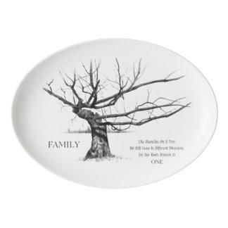 Árbol viejo Gnarled con cita sobre la FAMILIA, Badeja De Porcelana