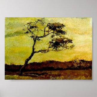 Árbol Viento-Batido, Vincent van Gogh Poster