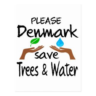 Árbol y agua de la reserva del PLZ Dinamarca Tarjetas Postales