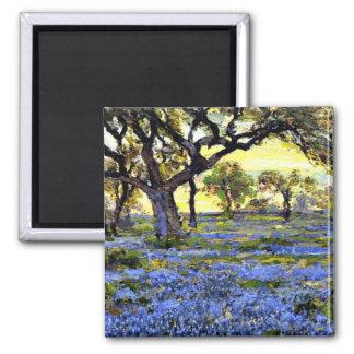 Árbol y Bluebells viejos - arte de Live Oak de Ond Imán Cuadrado