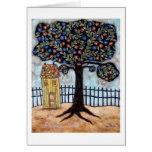 Árbol y casa tarjeta