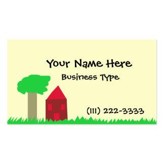 Árbol y casa tarjetas de visita