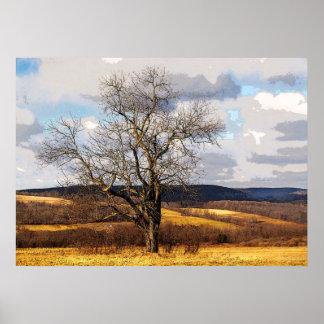 Árbol y colinas distantes impresiones