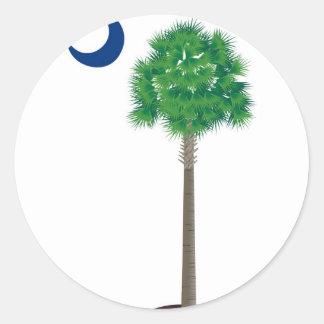Árbol y creciente verdes del palmetto de Carolina Pegatina
