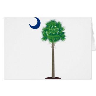 Árbol y creciente verdes del palmetto de Carolina Felicitación