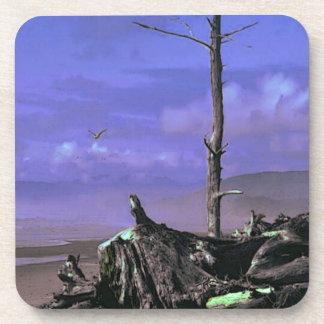 Árbol y Driftwood desnudos en una línea de la play Posavasos