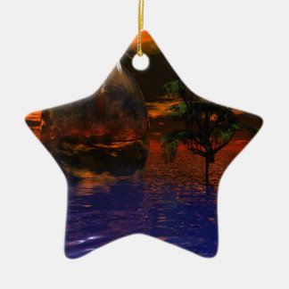 Árbol y esfera en agua ondulada con volar de Eagle Adorno Navideño De Cerámica En Forma De Estrella