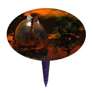 Árbol y esfera en agua ondulada con volar de Eagle Figura De Tarta