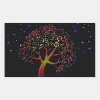 Árbol y estrellas de la flor en la noche rectangular altavoces