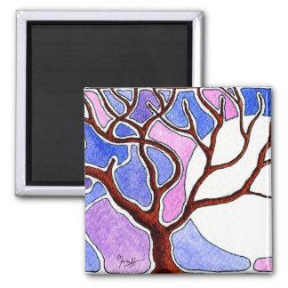 Árbol y luna de la acuarela - azul y rosa imán para frigorifico