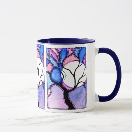 Árbol y luna de la acuarela - azul y rosa taza