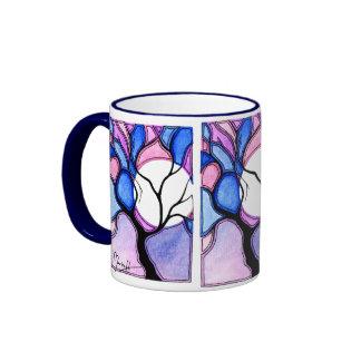 Árbol y luna de la acuarela - azul y rosa taza de dos colores