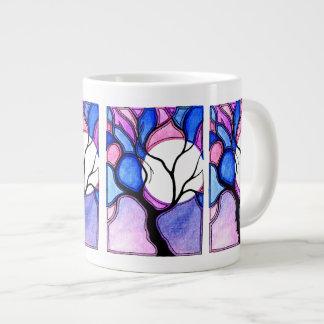 Árbol y luna de la acuarela - azul y rosa taza jumbo