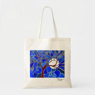 Árbol y luna en la lona - azul bolsa tela barata