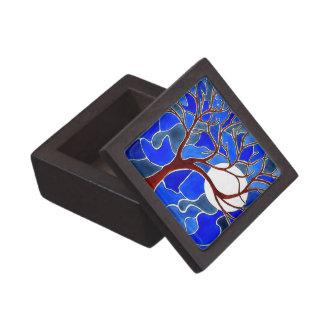 Árbol y luna en la lona - azul caja de joyas de calidad